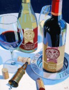 Wine Bottle Painting Metal Prints - Hampden Sydney Red and White Number One Metal Print by Christopher Mize