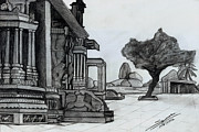 Pillar Drawings - Hampi Stone Structure by Shashi Kumar