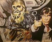 Chewbacca Paintings - Han and Chewie by Brian Child