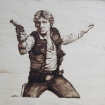 Woodburning Pyrography - Han Solo by Chris Wulff