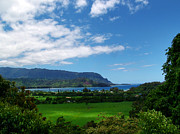 Tropical Prints Prints - Hanalei Bay 1 Print by Ken Smith