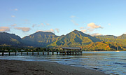 Kauai Pier Posters - Hanalei Bay Morning Kauai Poster by Kevin Smith