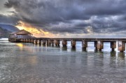 Hanalei Pier Sunset Framed Prints - Hanalei Bay Pier HDR Framed Print by Kelly Wade