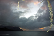 Kauai Prints Prints - Hanalei Bay Sunset Print by Kathy Yates