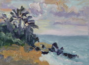 Kauai Artist Paintings - Hanalei Bay Sunset Kauai Hawaii by Zanobia Shalks