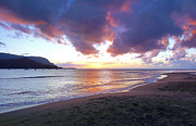 Hanalei Pier Sunset Framed Prints - Hanalei Bay Sunset Kauai Framed Print by Kevin Smith