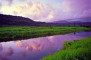 Purple Sky Posters - Hanalei Dawn Poster by Kevin Smith