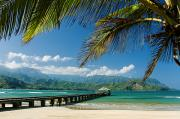 North Shore Prints - Hanalei Pier and beach Print by Monica and Michael Sweet - Printscapes