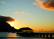 Kauai Pier Posters - Hanalei Pier at Sunset Poster by Rashelle Brown