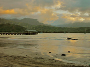 Kauai Pier Posters - Hanalei Pier Dusk Reflections Poster by Stephen  Vecchiotti