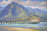 Landscape Paintings - Hanalei Pier by Jenifer Prince