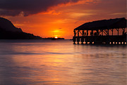 Hanalei Pier Sunset Framed Prints - Hanalei Pier Framed Print by Mike  Dawson