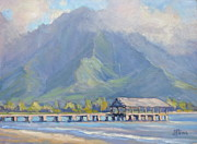 Kauai Pier Posters - Hanalei Pier Sunset Poster by Jenifer Prince