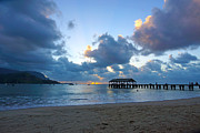 Hanalei Pier Sunset Framed Prints - Hanalei Pier Sunset Kauai Framed Print by Kevin Smith