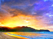 Haleiwa Paintings - Hanalei Sunset by Dominic Piperata
