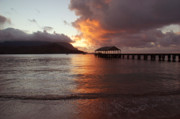Kauai Pier Posters - Hanalei Sunset Poster by Kelly Wade