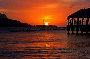 Paradise Pier Prints - Hanalei Sunset Print by Mike  Dawson