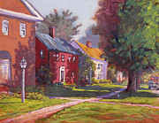 New England Village  Paintings - Hancock Village Scene by Ken Fiery