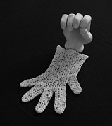 Black And White Sculpture Posters - Hand and Glove Poster by Barbara St Jean