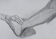 Pastel Art Prints - Hand and leg sketch Print by Jose Valeriano