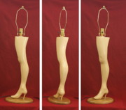 Signed Sculpture Prints - Hand Carved Wood Leg Lamp Print by Mike Burton