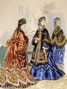 Satin Dress Prints - Hand-colored Engraving Depicting Two Print by Everett
