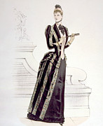Striped Dress Art - Hand-colored Engraving Of A Woman by Everett