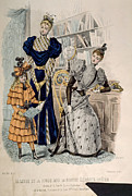 Waspwaist Prints - Hand-colored Engraving Of Two Women Print by Everett
