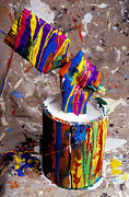 Hands Acrylic Prints - Hand coming out of paint bucket Acrylic Print by Garry Gay