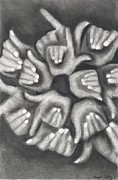 Fists Drawings - Hand Coral by Angela Conley