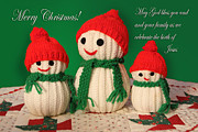 Hand Crsafted Snowmen Print by Linda Phelps