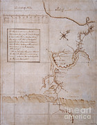 Drawn Prints - Hand Drawn Map By G. Washington Print by Photo Researchers