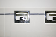 Public Restroom Prints - Hand Dryers in Restroom Print by Andersen Ross