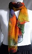 Hand Tapestries - Textiles Framed Prints - Hand Dyed Silk Scarf Framed Print by Linda Marcille