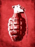 Hand Posters - Hand Grenade on Red Poster by Michael Tompsett