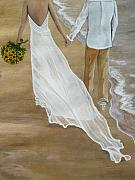 Bride And Groom Paintings - Hand In Hand by Kris Crollard