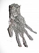 Grey Sculpture Metal Prints - Hand Metal Print by Kyle Ethan Fischer