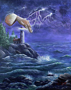 Lighthouse Paintings - Hand of Protection by Kristi Roberts