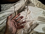 Bedding Prints - Hand on Comforter Print by Ron Bissett
