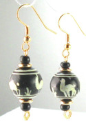Gold Earrings Art - Hand Painted Ceramic Peruvian Beaded Earrings by Esprit Mystique
