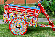 Yoke Posters - Hand Painted Folk Art Cart Poster by Linda Phelps