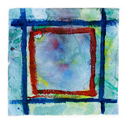 Edge Drawings Prints - Hand Painted Square Frame   Print by Igor Kislev