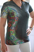 Clothing Tapestries - Textiles Prints - Hand Painted Tshirts Print by Laura Miller