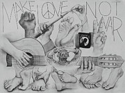 60s Drawings - Hand Peace Foot Peace by Mary Byrd