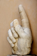 Statues Framed Prints - Hand with pointing index finger. statue of Constantine. Palazzo dei Conservatori. Capitoline Museums Framed Print by Bernard Jaubert