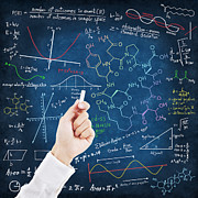 Black Pastels Posters - Hand writing science formulas Poster by Setsiri Silapasuwanchai