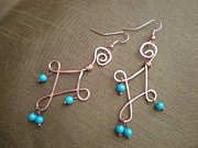 Turquoise Jewelry Prints - Handcrafted Wire Earrings Print by Beth Sebring