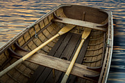 Rowboat Prints - Handcrafted Wooden Rowboat With Oars Print by Gary S Chapman