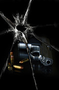 Life-threatening Metal Prints - Handgun Bullets and Bullet Hole Metal Print by Jill Battaglia