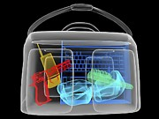 Smuggling Photo Prints - Handgun In Briefcase, Simulated X-ray Print by Christian Darkin